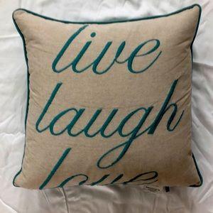 Live Laugh Love turquoise accent pillow